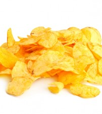 Golden fresh chips, isolated on white